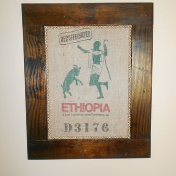 Framed Dunn Bros Ethiopia Decaffeinated Burlap Coffee Bag Art