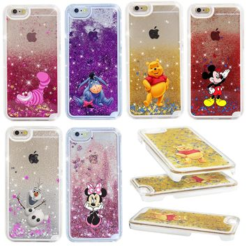 For Iphone 5 5S Case Cheshire Cat Minnie Cartoon Star Quicksand Flash Hard Case For iphone 4 4S 5C
