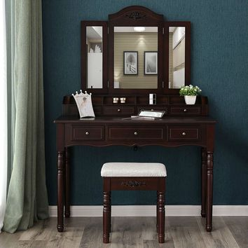 Solid Brown Wood Vanity Table And Stool Set With Drawers and Mirrors For Jewelry And Makeup