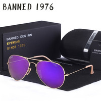 BANNED G15 mirror glass lens design women men Sunglasses uv400 feminin brand new aviation oculos sun Glasses vintage with box