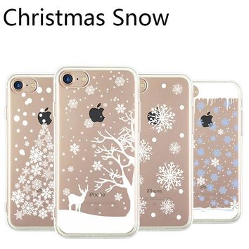 Happy New Year Christmas Theme White Snow Phone Case For iphone 8 Case Transparent TPU Soft Cover For iphone 5 5s se 6 6s 7 Plus
