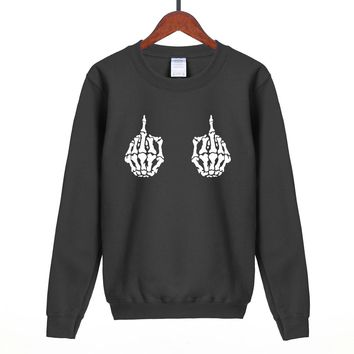 Skeleton Hand Middle Fingers Sweatshirt - Men's Top