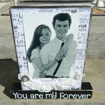 Wedding decoration with personalized saying and picture- You are my forever lace and vintage embellishments black home decor wooden blocks