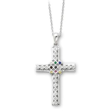 Sterling Silver The Lord Is My Shepherd Cross Psalm 23 Sentimental Expressions Necklace