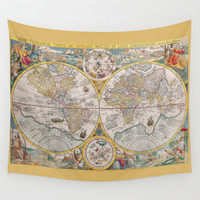 Old Map of the World from 1594 Wall Tapestry by Lena Photo Art