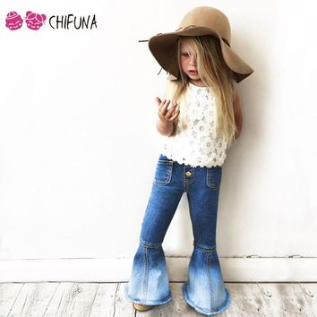 chifuna  Girls Bell-bottomed Pants Spring Children Trousers Outfits Baby Costume Fashion Kids Vintage Jeans