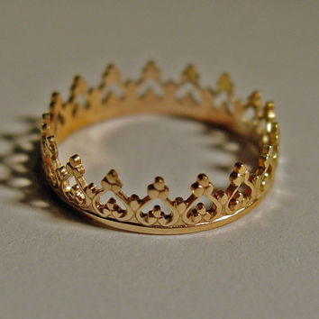 Crown Ring for princess 14ct gold custom size Band  Metal  Metalwork A