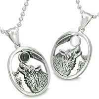 Amulets Howling Wolf Moon Best Friends Simulated Onyx White Cat's Eye Yin Yang Necklaces