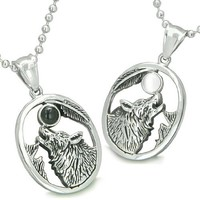 Amulets Howling Wolf Moon Best Friends Simulated Onyx White Simulated Cats Eye Yin Yang Necklaces