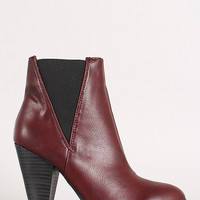 Leatherette Chunky Heel Chelsea Bootie