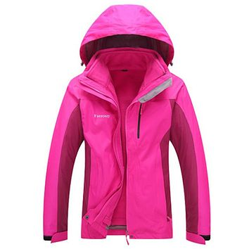 Women Winter 2 Pieces Waterproof Softshell Hiking Camping Trekking Outdoor Jackets Fleece Warm Hooded Coat Chaqueta