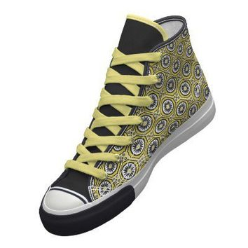 pattern-yellow black pro-keds high top sneaker from Zazzle.com