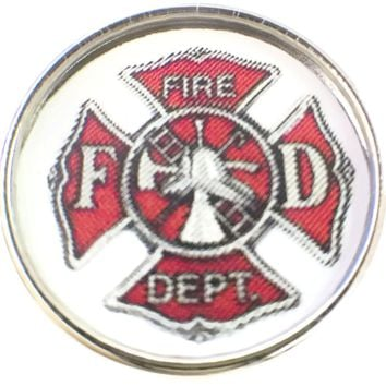 Thin Red Line Fire Department Badge Support For Firefighters 18MM - 20MM Snap Charm New Item