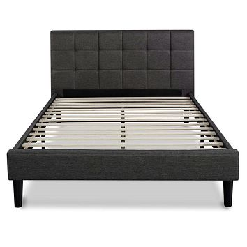 Queen size Modern Classic Dark Grey Upholstered Platform Bed with Headboard
