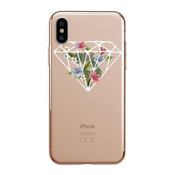 Floral Diamond - iPhone Clear Case