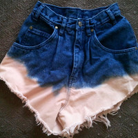 DIp Dyed Jean High Waisted Shorts