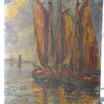 OIL PAINTING ON BOARD, SIGNED, SAIL BOATS