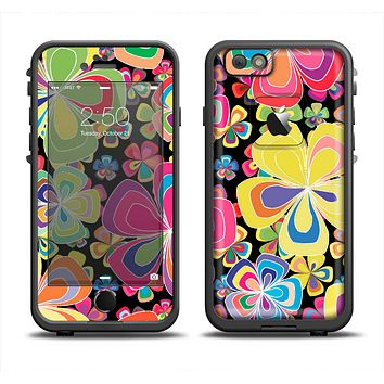 The Fun Colored Vector Flower Petals Skin Set for the Apple iPhone 6 LifeProof Fre Case