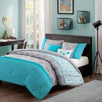 Clara Reversible Comforter Set in Blue