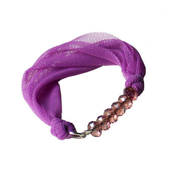 Neon fabric BRACELET - Violet textile bangle with pink beads