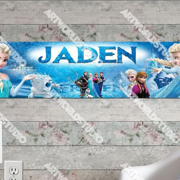 Personalized/Customized Frozen Elsa and Anna #1 Poster, Border Mat and Frame Options Banner 159