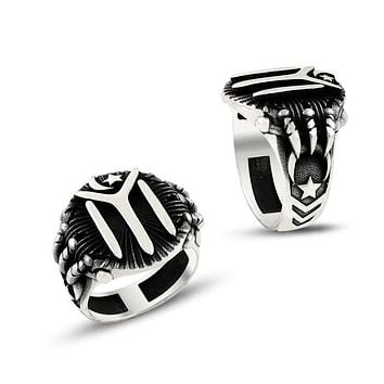 IYI monogram claw 925K sterling silver mens ring