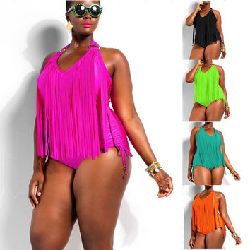 Women Tassel Monokini Fringe One Piece Swimsuit