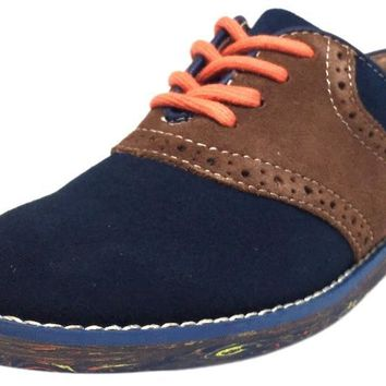 Florsheim Boy's Kennett Jr. II Navy Blue Brown Suede Marble Bottom Classic Lace Up Oxford Shoes
