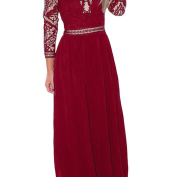 Burgundy Lace Crochet Quarter Sleeve Maxi Dress