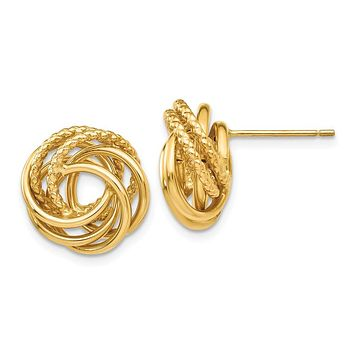 13mm Polished and Textured Love Knot Earrings in 14k Yellow Gold