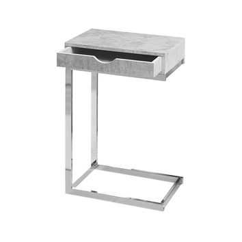 Accent Table - Chrome Metal, Grey Cement With A Drawer