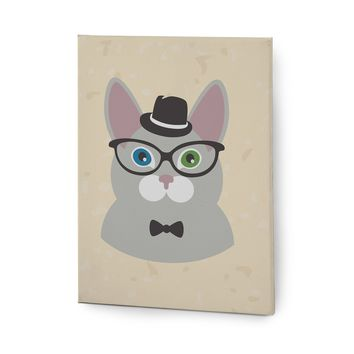 Hipster Animals Pictures Series Canvas Wall Art Painting Prints Grey Rabbit