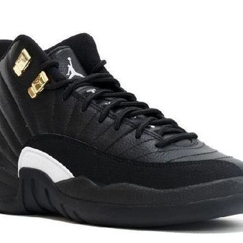 PEAPN Ready Stock Nike Air Jordan 12 Retro Bg(gs) The Master Black White Metallic Gold Basketball Sport Shoes