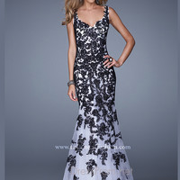 La Femme Fit and Flare Lace Prom Dress 21192