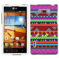 LG Optimus Showtime Aztech Andes Tribal Pattern on Black Phone Case Cover