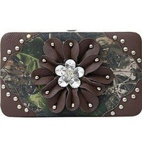 Camo 3d Rhinestone Flower Studded Camouflage Flat Wallet Clutch Purse Brown (Brown)