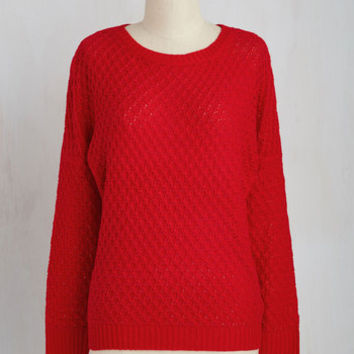 Mid-length Long Sleeve Consider It Casual Sweater in Red
