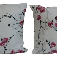 "DaDa Bedding Floral Cherry Blossoms Cotton Pillow Cover Case Sham - 20"" x 30"" - 2 Pieces"