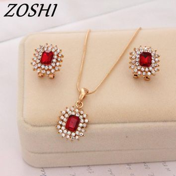 ZOSHI 2017 Jewelry Set Gold Color Chain Necklace Earrings 2pcs/set Wedding Party Gift Bridal Red Costume African Jewelry Set