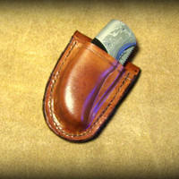 Custom Made Molded Leather Friction Sheath with Boker Damascus Knife