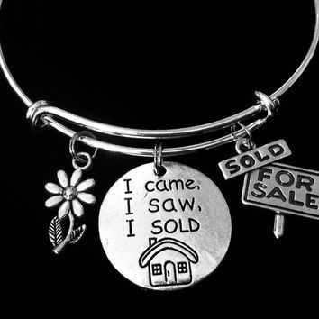 I Came, I Saw, I Sold Realtor Jewelry Adjustable Bracelet Silver Expandable Charm Wire Bangle Bracelet Stacking Trendy Gift