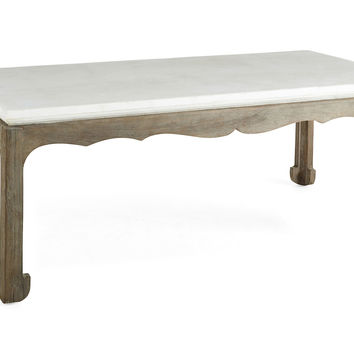 """Cole 52"""" Stone-Top Cocktail Table, White, Coffee Table"""