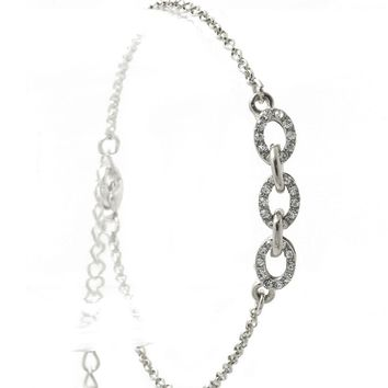 Clear Pave Crystal Stone Metal Link Chain Bracelet