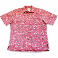 waikiki red reverse print hawaiian cotton shirt