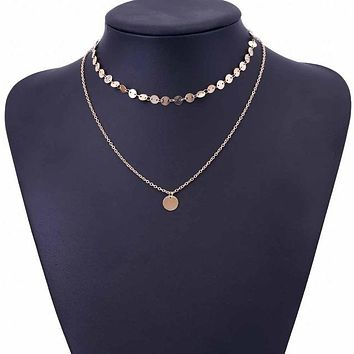 Gold Coin Layered Necklace Set For Women Charm Choker Necklace