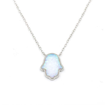 ZDN1038-WOP  925 STERLING SILVER HAMSA LIGHT BLUE AND WHITE OPAL NECKLACE