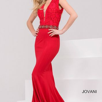 Red Fitted Plunging Neck Open Back Dress 32120