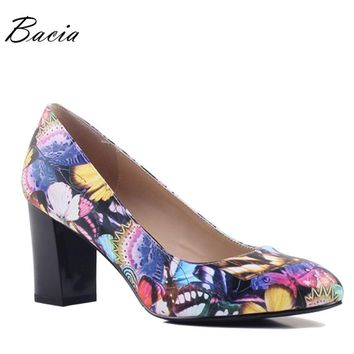 Bacia Soft Sheep Skin Pumps New 2017 Fashion Butterfly Print Thick High Heels 33-40 Russian size Ladies Real Leather Shoes SA002