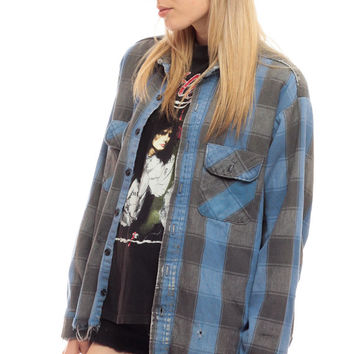 Blue Buffalo Plaid Shirt 90s Flannel DISTRESSED Grunge Button Up Ripped 1990s Grey Oversized 80s Vintage Checkered Long Sleeve Large