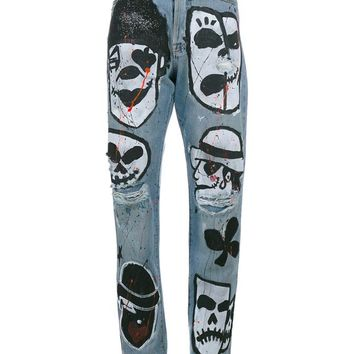 Hand-Painted Skull Head Boyfriend Jeans - FAITH CONNEXION